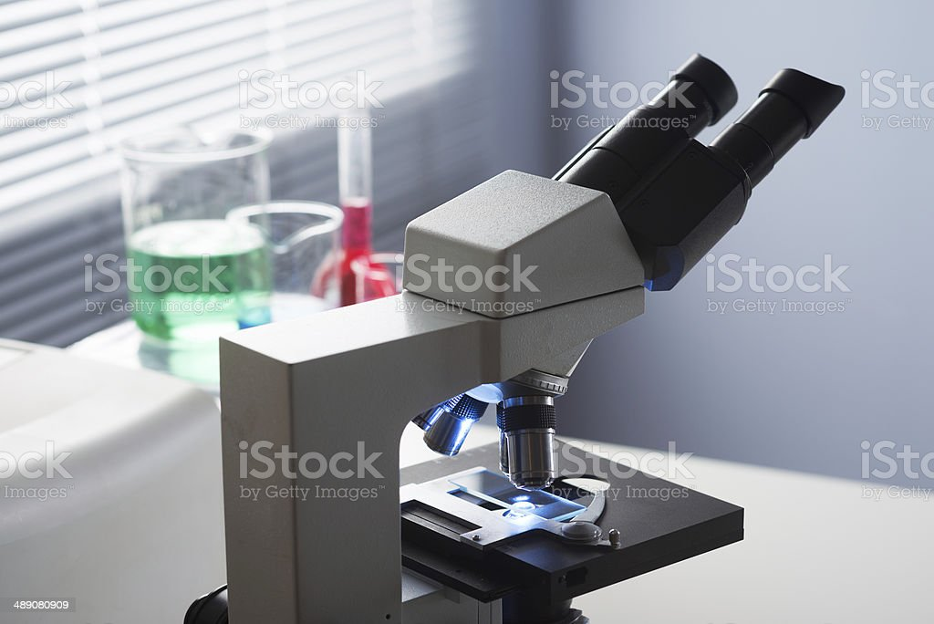 Microscope and laboratory equipment royalty-free stock photo