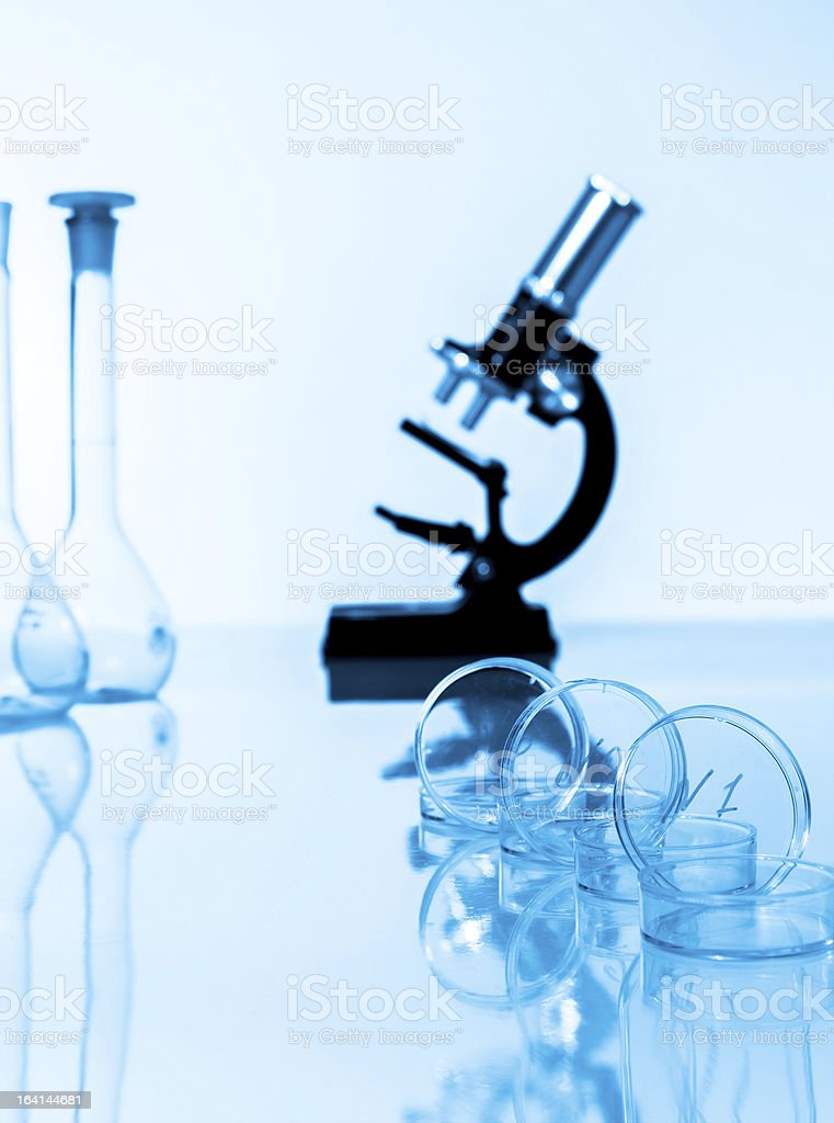 microscope and test tubes used in laboratory royalty-free stock photo