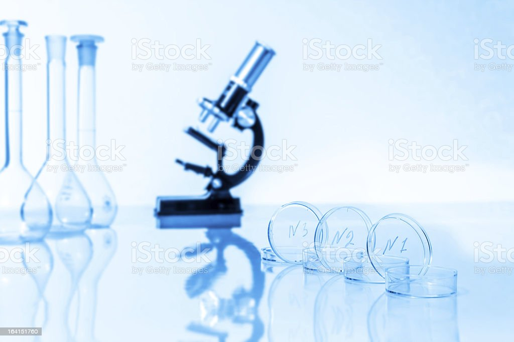 microscope and test tubes used in research  laboratory royalty-free stock photo