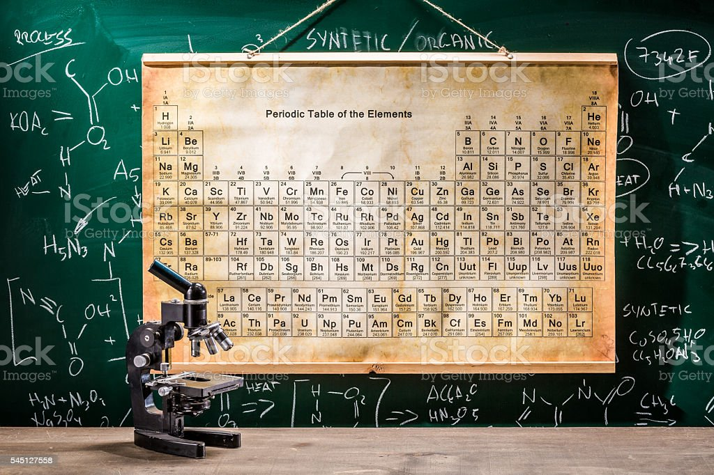 Microscope, blackboard with chemical formulas and table of elements stock photo