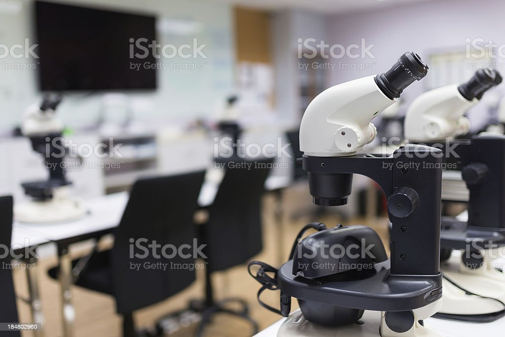 Microscope in laboratory room stock photo