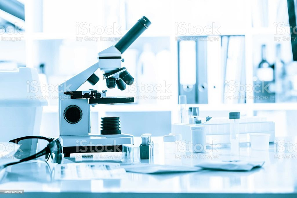 microscope in medical laboratory stock photo
