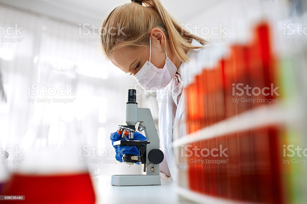Microscope laboratory stock photo