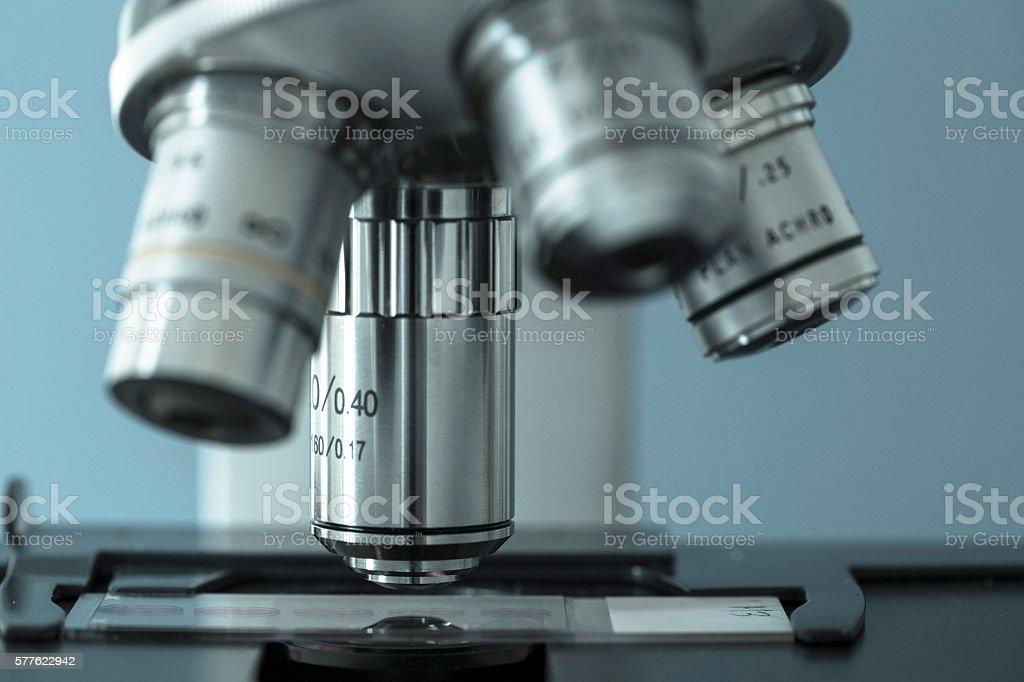 Microscope lens stock photo