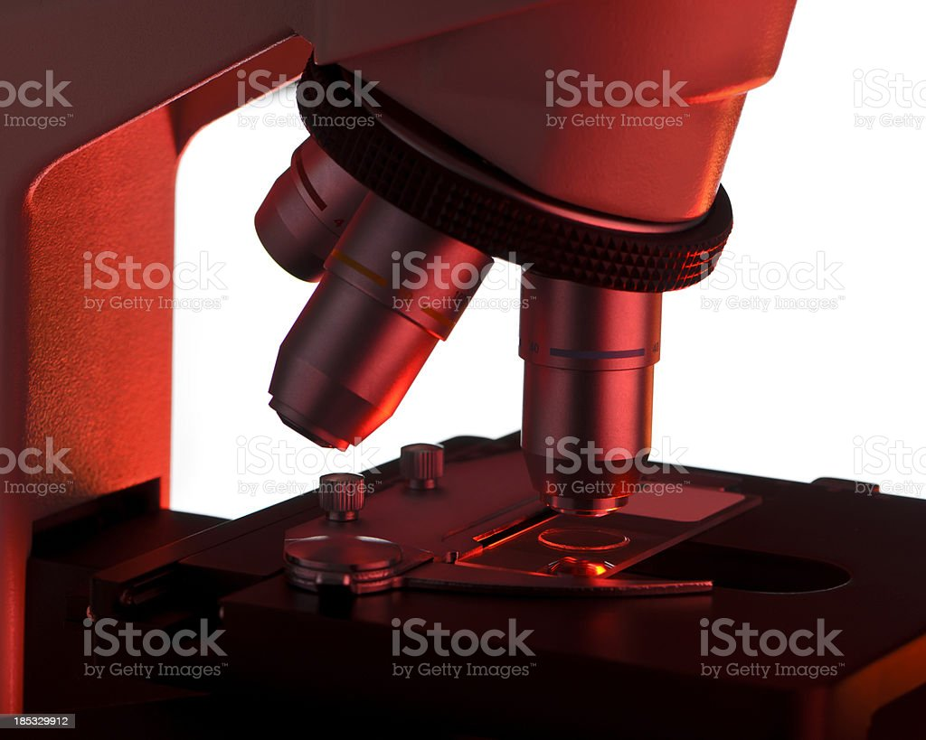 Microscope Objective Slide and Stage Close-Up Isolated with Clipping Path royalty-free stock photo