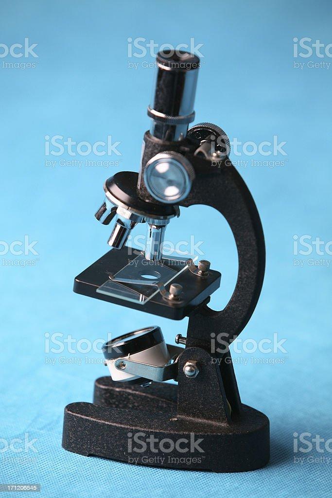 Microscope on Blue royalty-free stock photo
