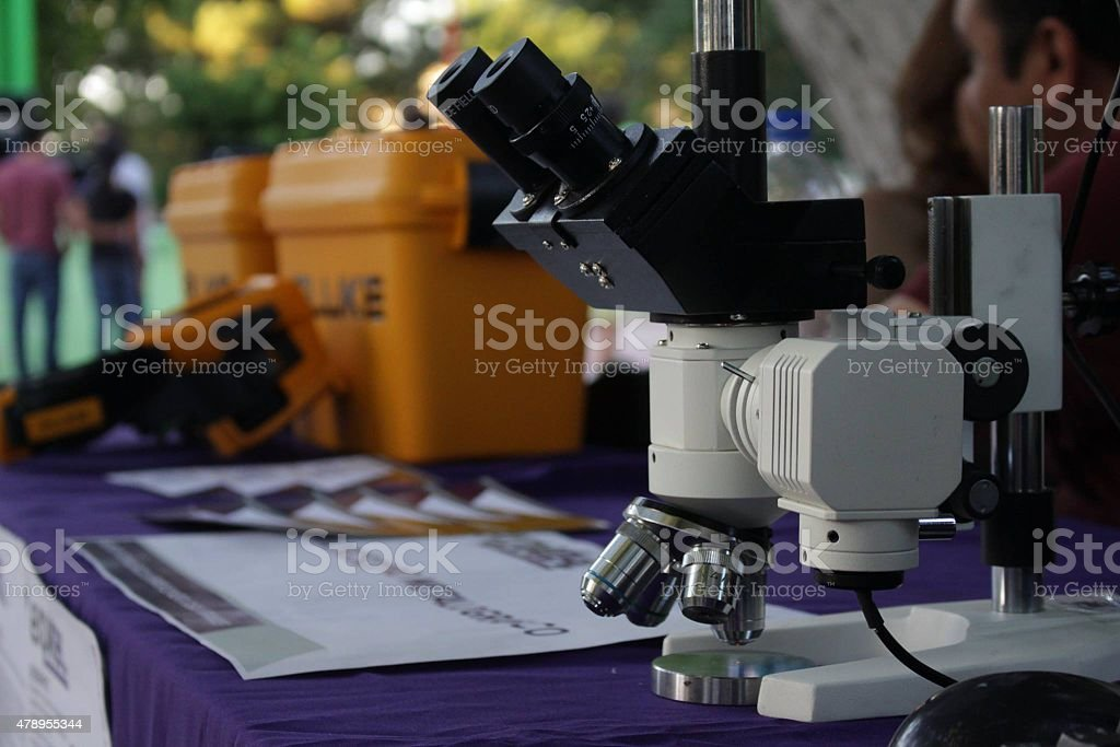 Microscope on table royalty-free stock photo