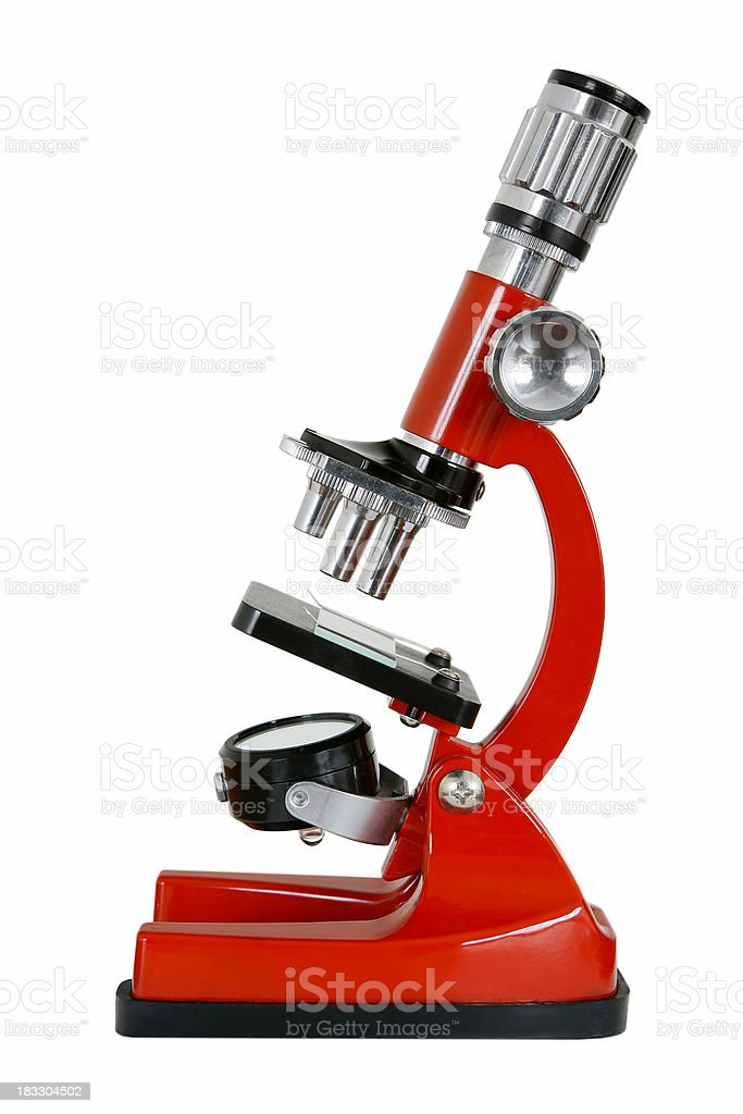 Microscope on white stock photo