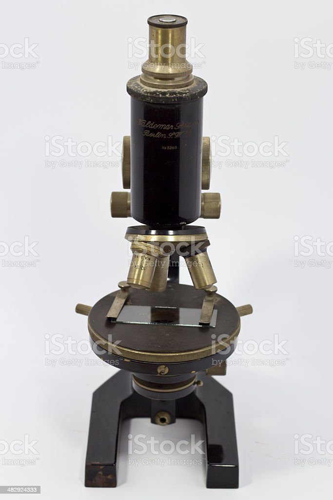 Microscope on white royalty-free stock photo