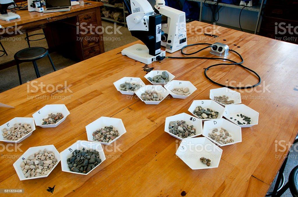 Microscope Rock Analysis stock photo