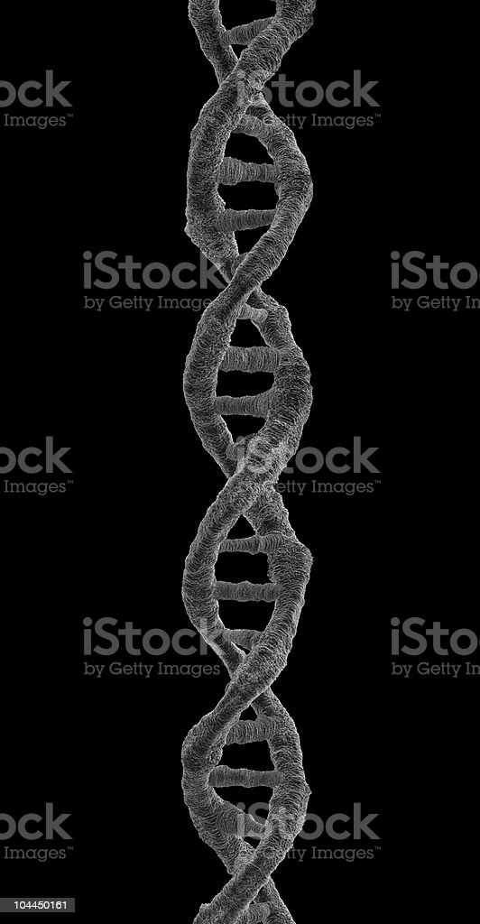 Microscope view of DNA string on black background royalty-free stock photo