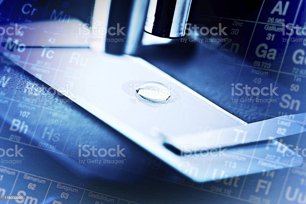 Microscope with biological material. stock photo