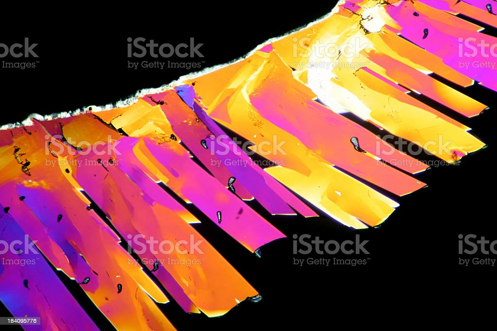 Microscopic image of Citric Acid Crystals stock photo