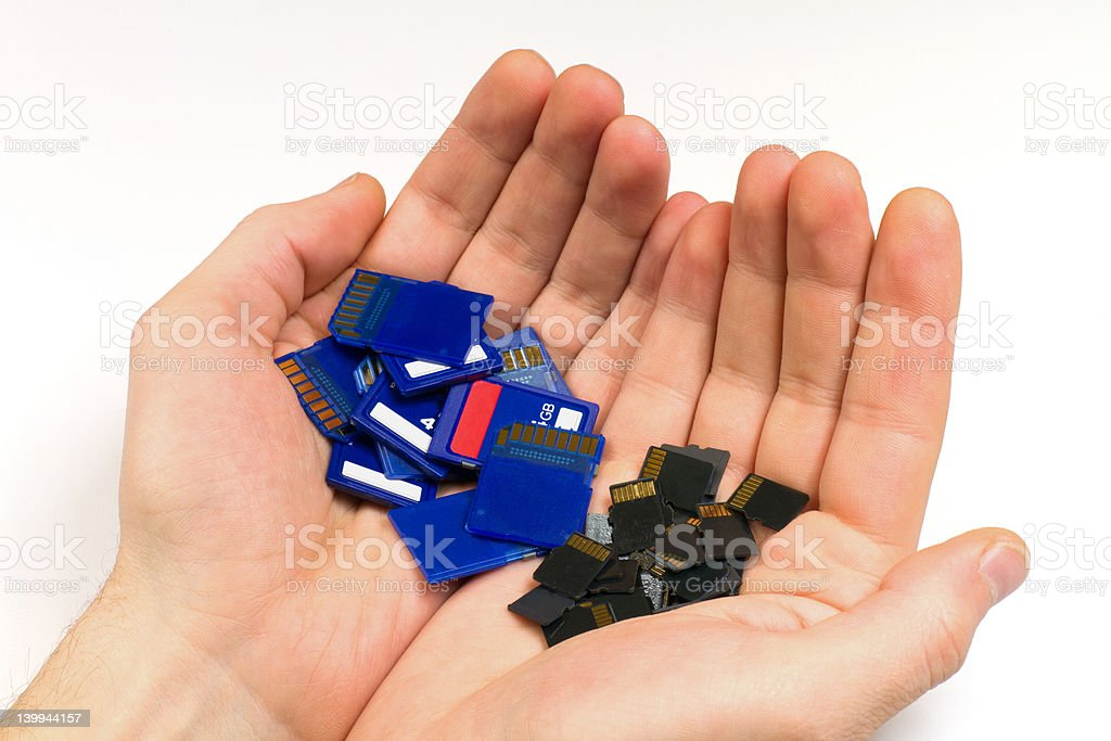 MicroSD and SD memory cards stock photo