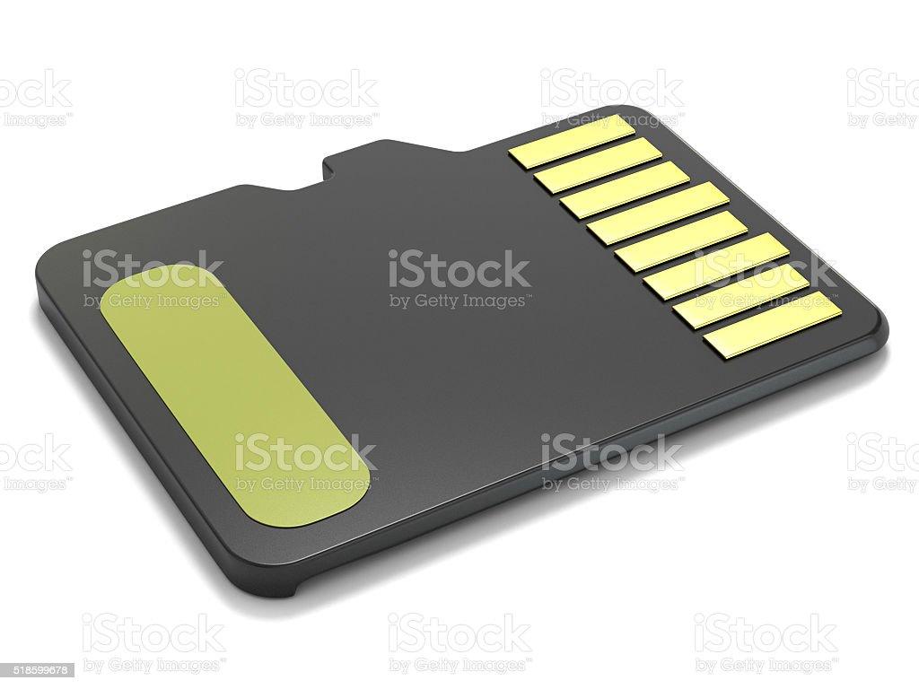 MicroSD memory card, back view. 3D stock photo