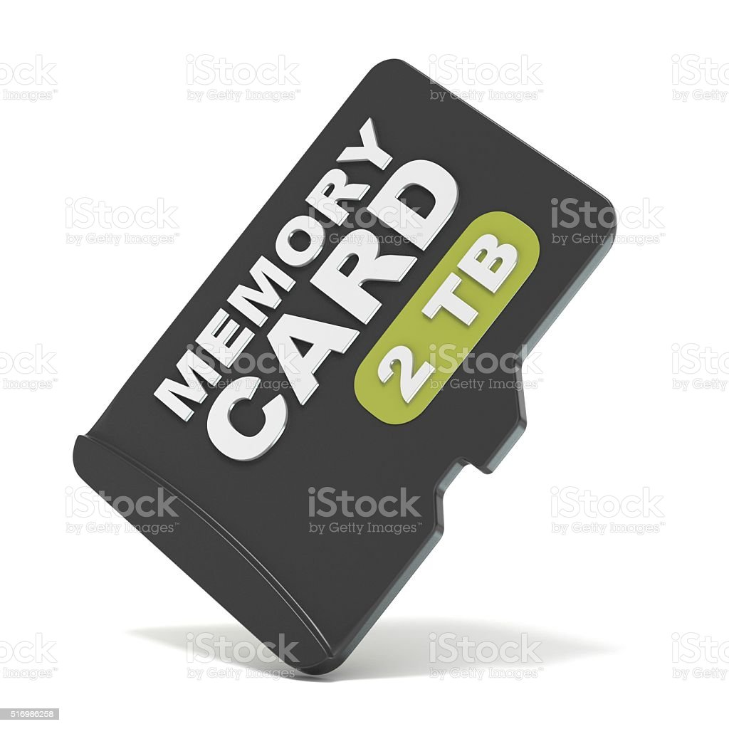 MicroSD memory card, front view 2 TB. 3D stock photo