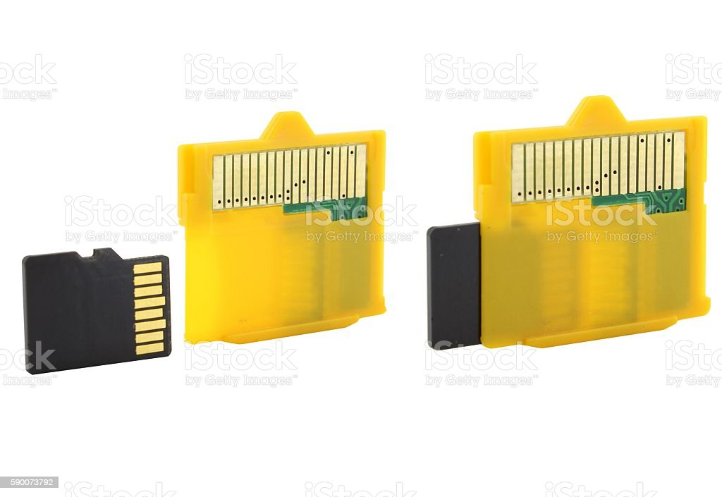 MicroSD to XD card adapter stock photo