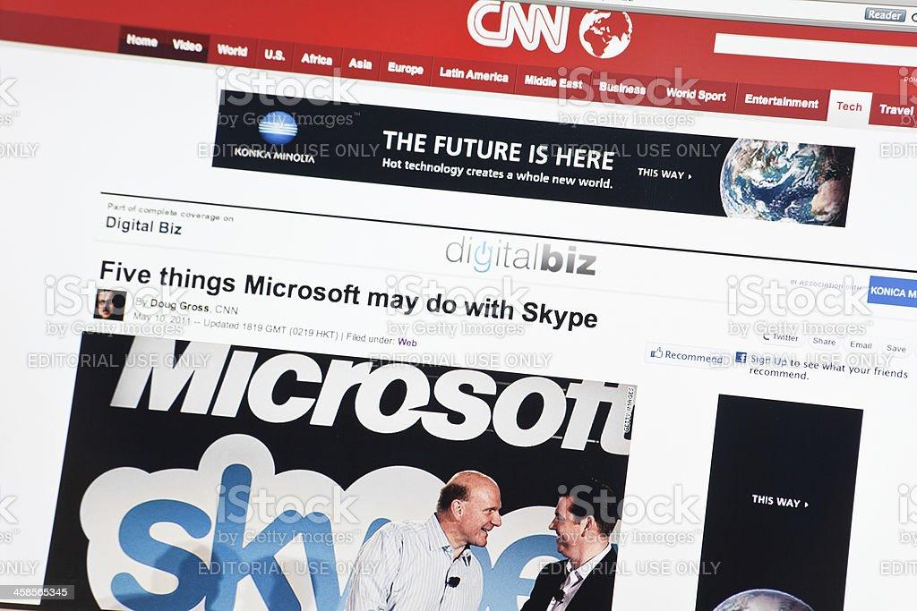 Microsoft Buy Skype on Cnn.com Web Site stock photo