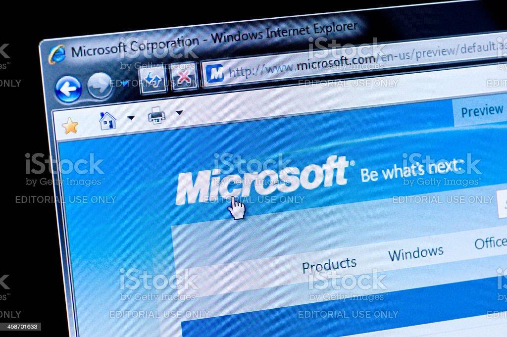 Microsoft - Macro shot of real monitor screen stock photo