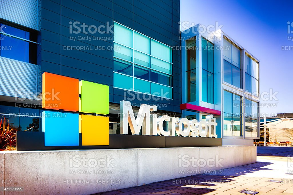 Microsoft sign at the entrance of their Silicon Valley campus stock photo