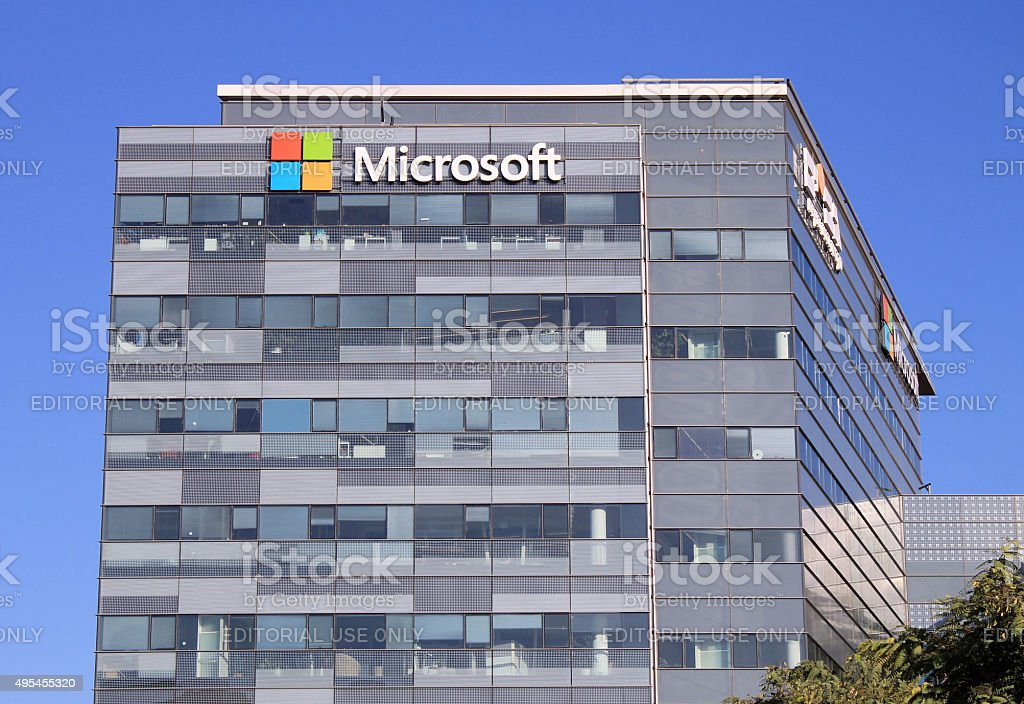 Microsoft sign on a building in Herzliya, Israel. stock photo