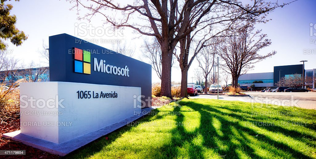 Microsoft Silicon Valley campus entrance sign stock photo
