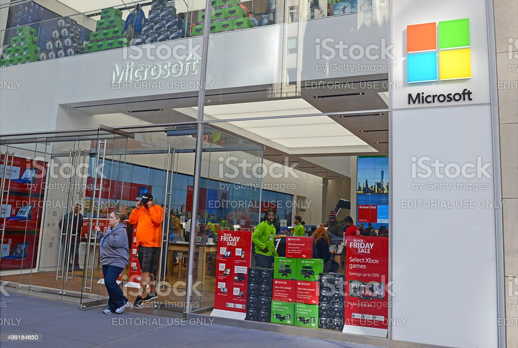 Microsoft Store in Manhattan, New York stock photo