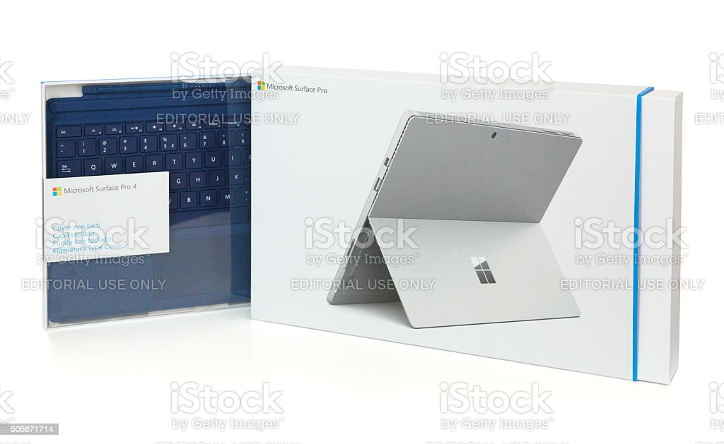 Microsoft Surface Pro 4 - tablet and keyboard. stock photo
