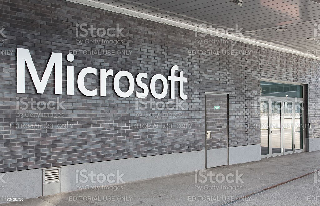 Microsoft Switzerland office entrance stock photo