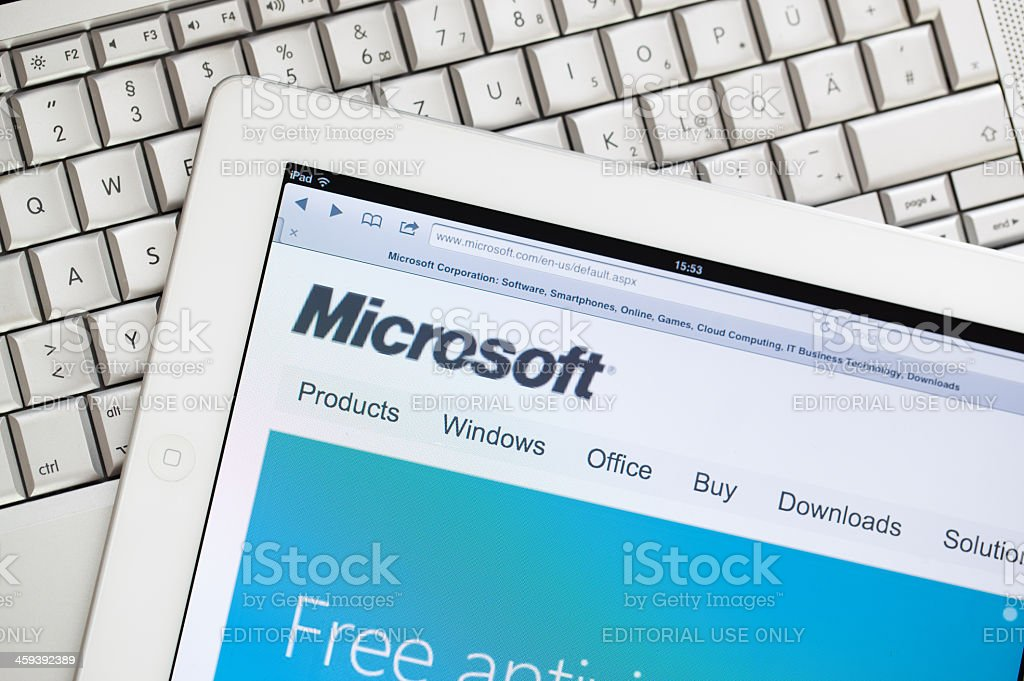 Microsoft website on Apple ipad2 stock photo