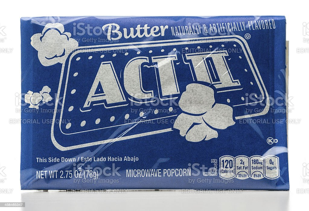 ACT II microwave butter popcorn package stock photo