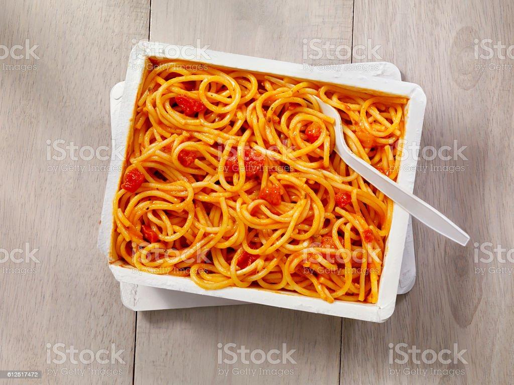 Microwave Dinner -Spaghetti Marinara stock photo