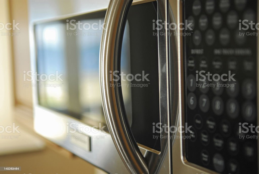 Microwave- focus on handle stock photo
