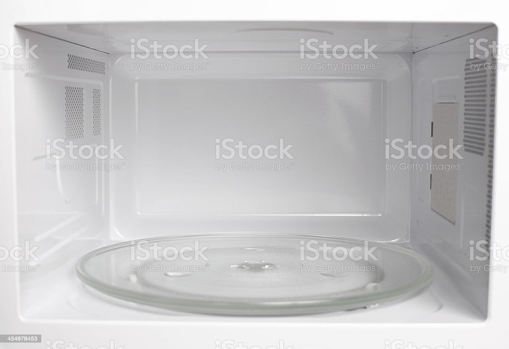 Microwave oven inside view stock photo