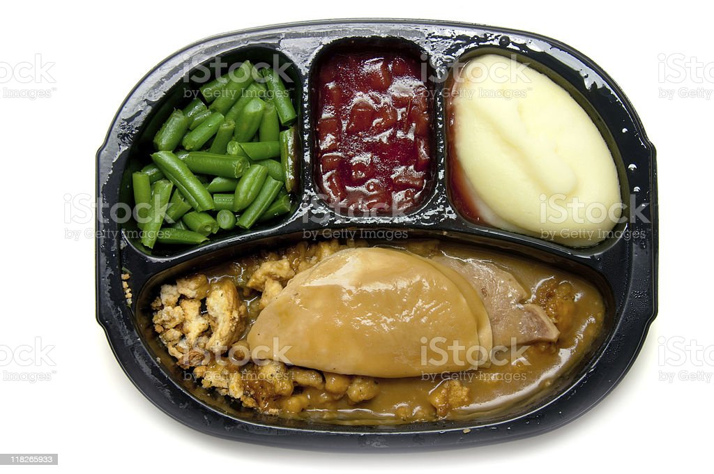 Microwave turkey TV dinner with three sides stock photo