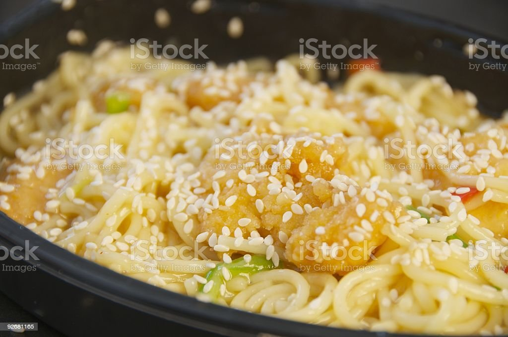 Microwave TV Dinner Sesame Chicken Meal royalty-free stock photo