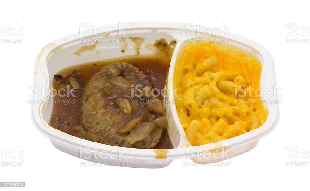 Microwaved Salisbury steak TV dinner in white plastic tray stock photo
