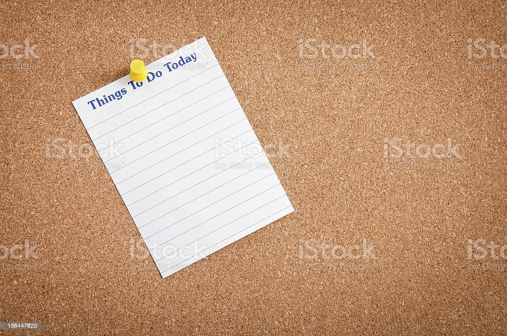 Mics Notes on Corkboard royalty-free stock photo