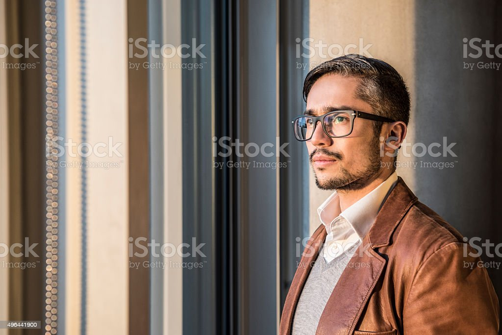 Mid adult businessman wearing glasses with beard, portrait stock photo