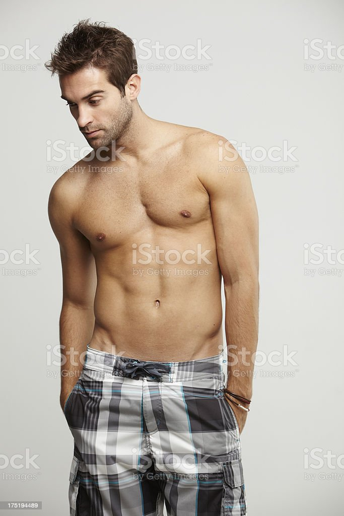 Mid adult man in shorts, studio royalty-free stock photo