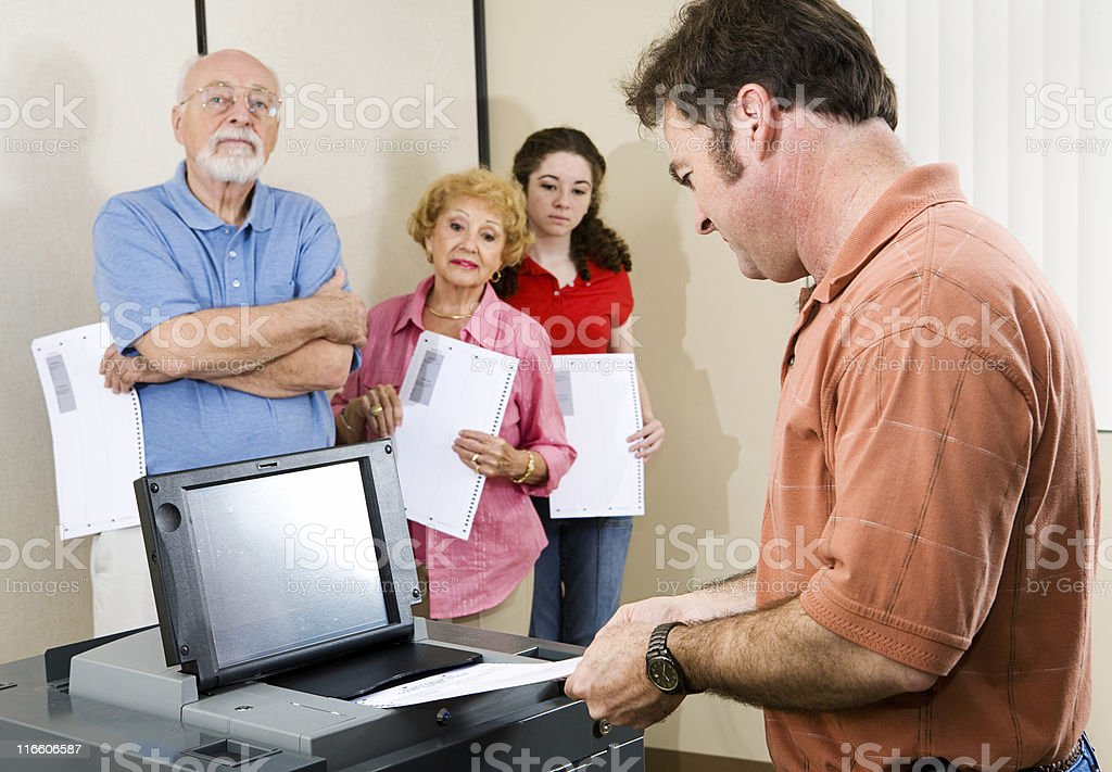 Mid Adult Man Voting royalty-free stock photo