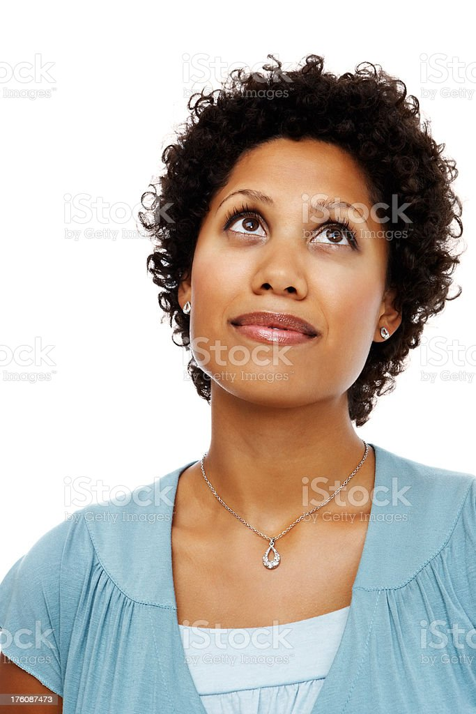 Mid adult woman day dreaming royalty-free stock photo