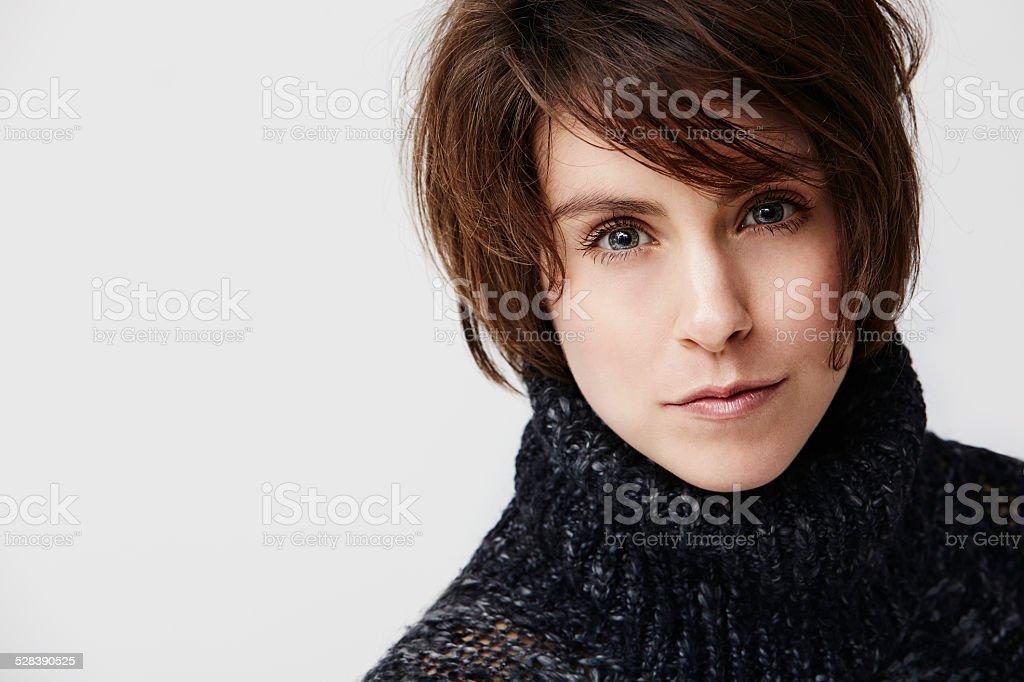 Mid adult woman in turtleneck, portrait stock photo