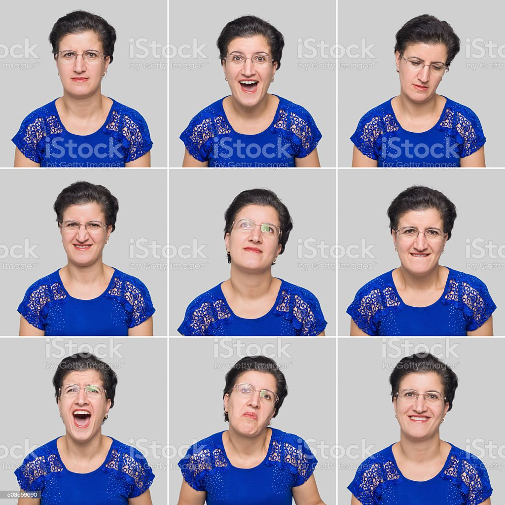 Mid adult woman making various facial expressions - Stock Image stock photo