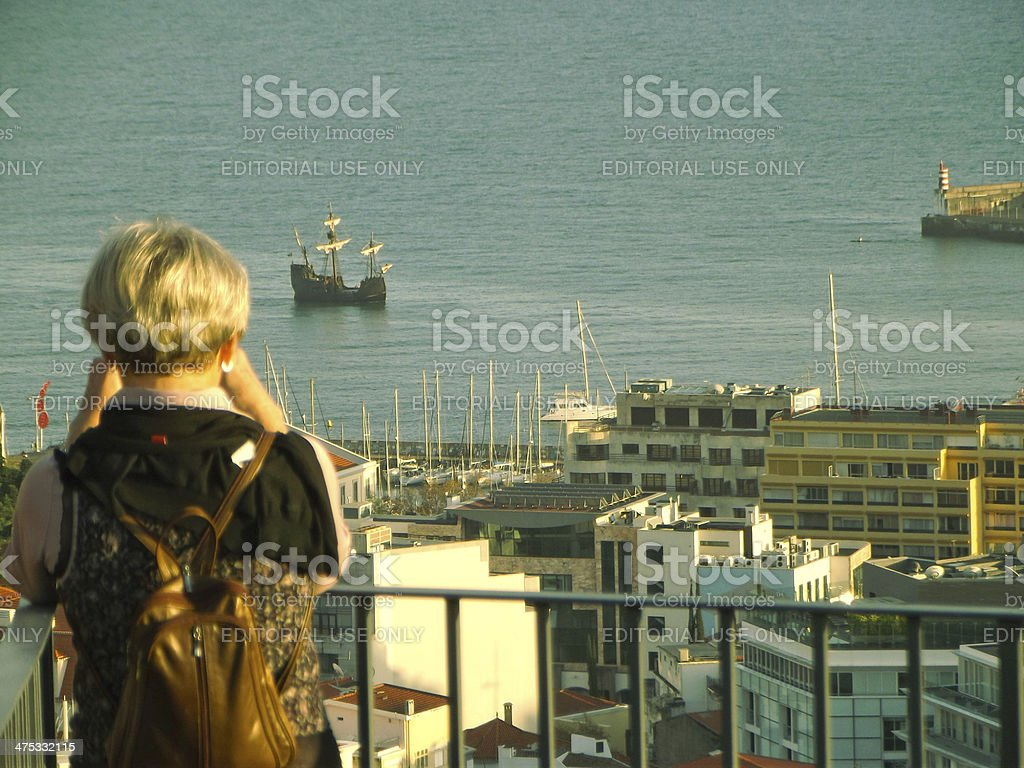 mid adult woman photograph 15th century caravel royalty-free stock photo