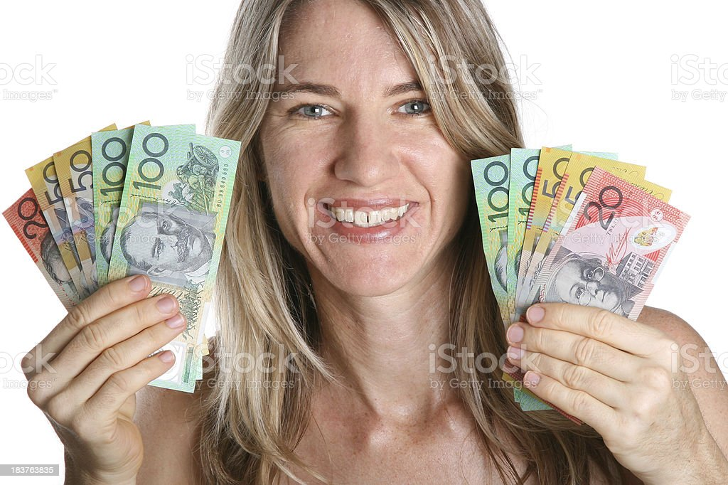 Mid Adult Woman with Australian Cash Money on white background stock photo