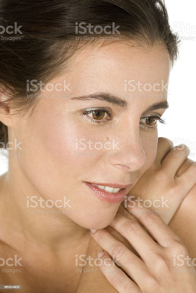 mid adult woman with bare shoulders royalty-free stock photo