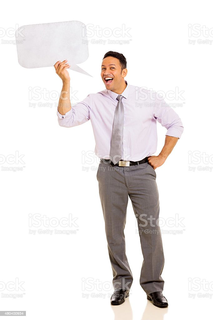 mid age man screaming in speech bubble stock photo