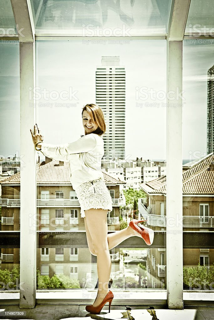 Mid aged woman posing. royalty-free stock photo