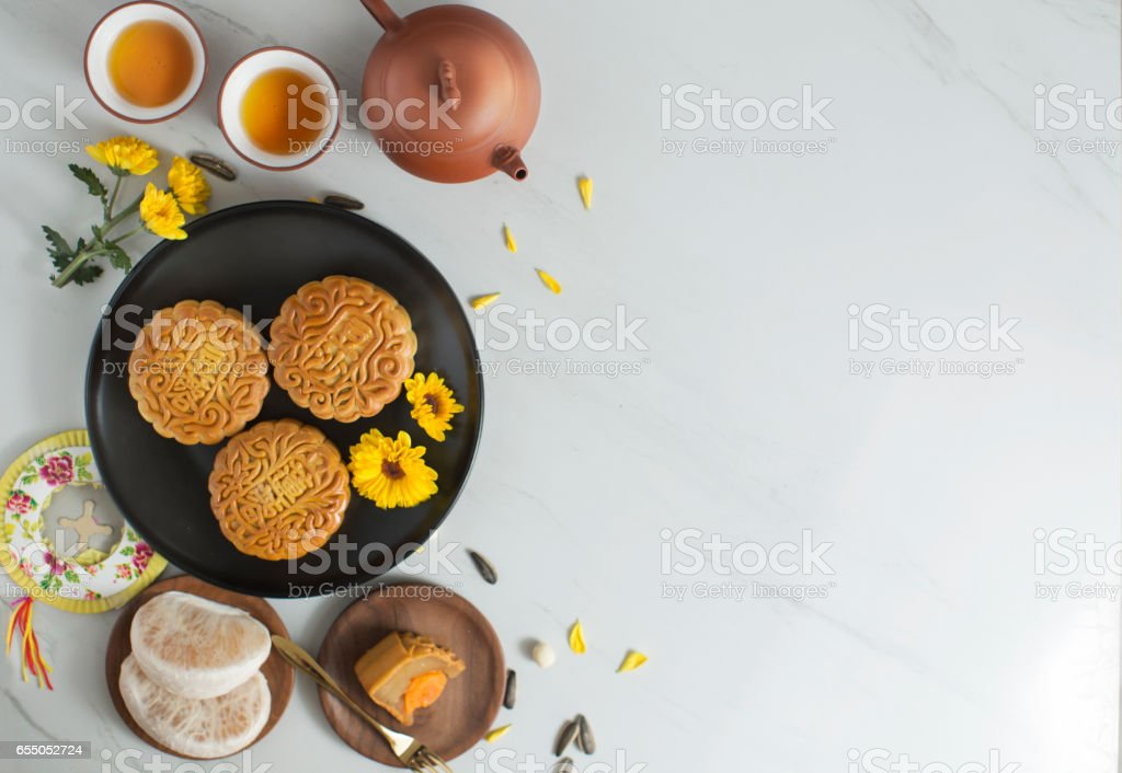 Mid autumn festival food and drink. stock photo